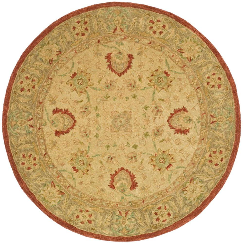 safavieh anatolia ivory rust 4 ft x 4 ft round area rug an512e 4r the home depot. Black Bedroom Furniture Sets. Home Design Ideas