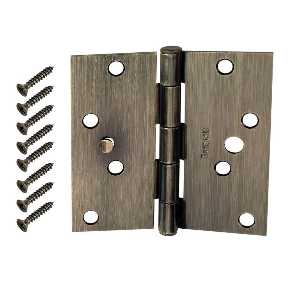 4 in. Antique Brass Square Corner Security Door Hinges Value Pack (3-Pack)