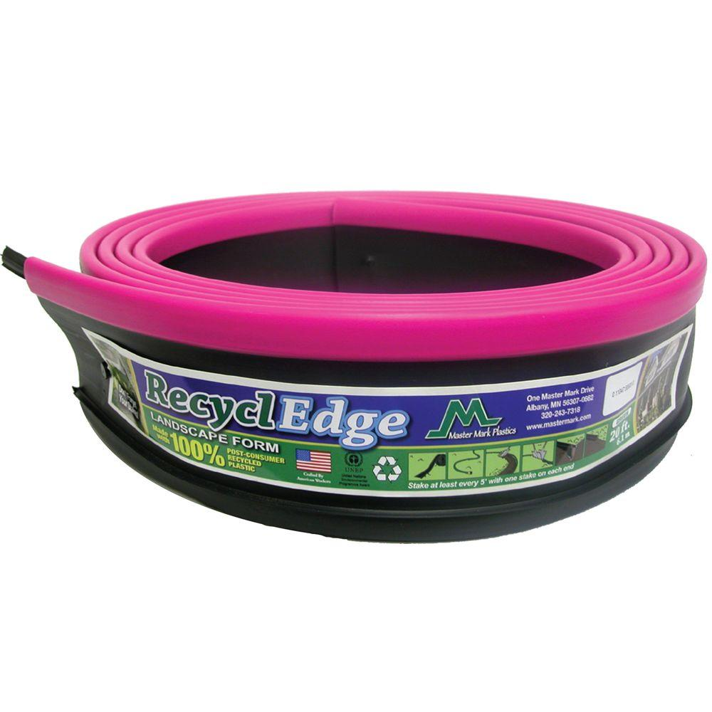 null RecyclEdge 20 ft. Recycled Plastic Landscape Lawn Edging Pink with Stakes