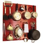Wall Control Kitchen Pegboard 32 in. x 32 in. Metal Peg Board Pantry Organizer Kitchen Pot Rack with Red Pegboard and Black Peg Hooks