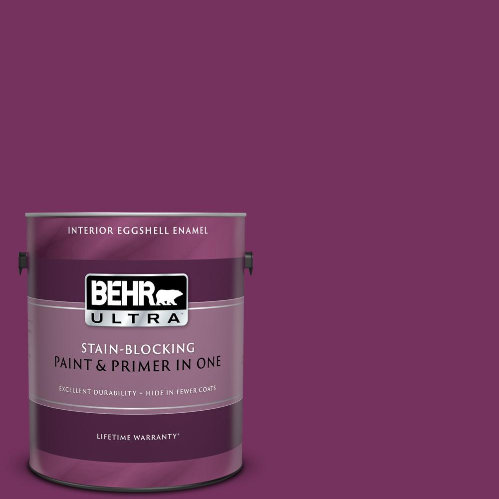 Behr Ultra 1 Gal 690b 7 Plum Jam Eggshell Enamel Interior Paint And Primer In One 275301 The Home Depot