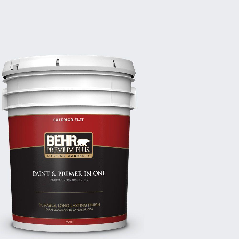 5 gal. #BWC-12 Vibrant White Flat Exterior Paint and Primer in