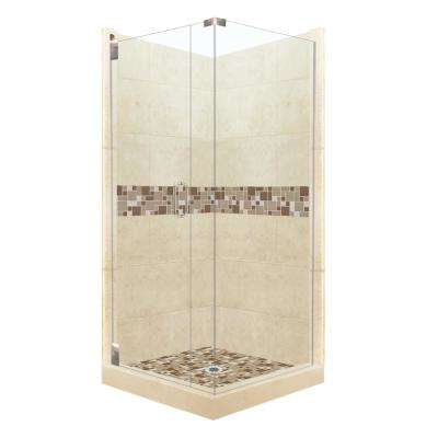 Tuscany Grand Hinged 38 in. x 38 in. x 80 in. Left-Hand Corner Shower Kit in Desert Sand and Satin Nickel Hardware