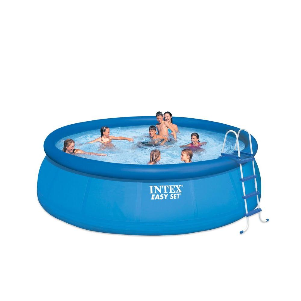 Intex 15 ft x 48 in round easy set above ground pool 28167eh the home depot for Round swimming pools above ground