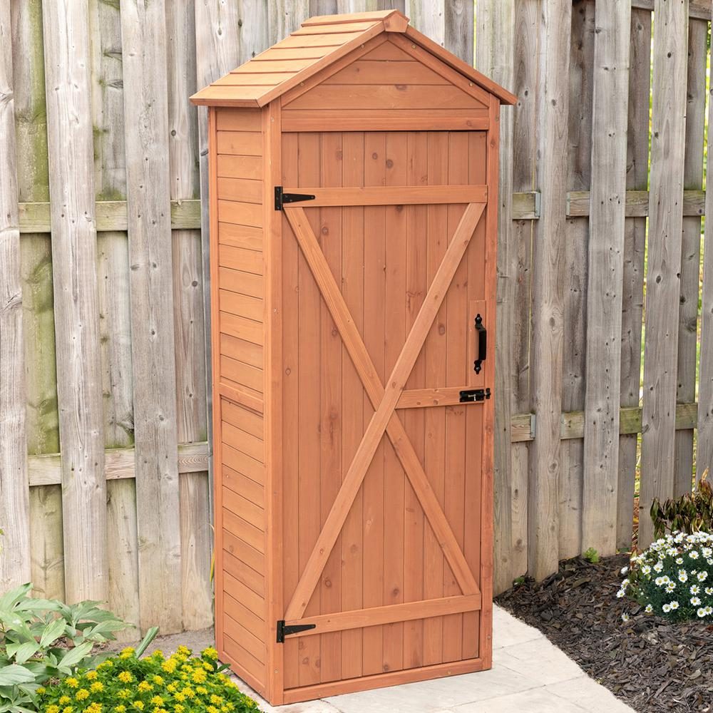Leisure Season 32 in. W x 22 in. D x 76 in. H Medium Brown Cypress Vertical Shed with Drop Table