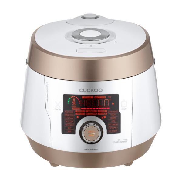 5 Qt. White/Gold Electric Multi Pressure Cooker with dial