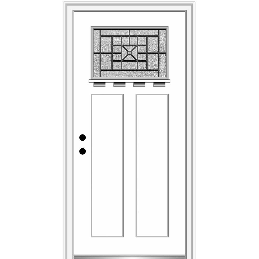 MMI Door 36 in. x 80 in. Courtyard Right-Hand 1-Lite Decorative Craftsman with Shelf Painted Fiberglass Smooth Prehung Front Door, Brilliant White was $1733.46 now $1127.0 (35.0% off)