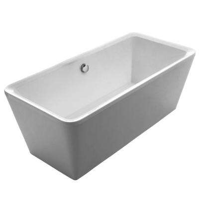 Bathhaus 5.6 ft. Lucite Acrylic Center Drain Rectangular Freestanding Bathtub in White