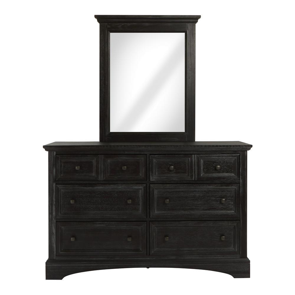 Farmhouse 6-Drawer Basics Rustic Black Dresser and Mirror Set