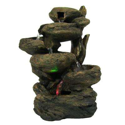 13 in. Staggered Rock Falls Tabletop Fountain with LED Lights