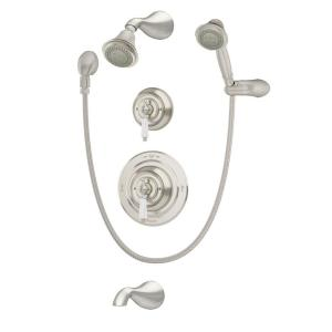 carrington 1handle 3spray tub and shower faucet with hand shower in satin