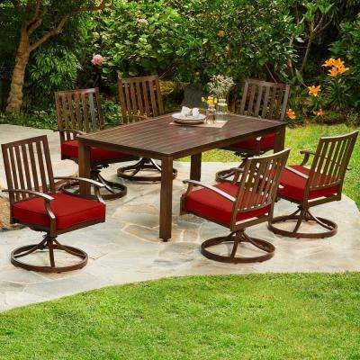Bridgeport 7-Piece Aluminum Outdoor Dining Set with Red Cushions