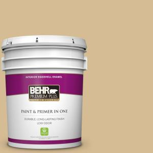 Behr Premium Plus 5 Gal 330f 4 Pebble Path Eggshell Enamel Low Odor Interior Paint And Primer In One 240005 The Home Depot
