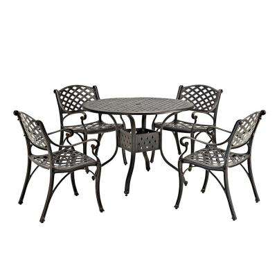 Antique Bronze 5-Piece Aluminum Round Outdoor Dining Set