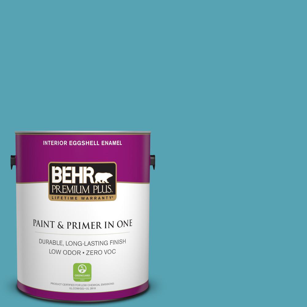 BEHR Premium Plus 1-gal. #M470-5 Explorer Blue Eggshell Enamel Interior Paint