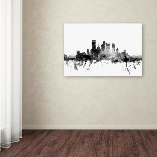 Trademark Fine Art Pittsburgh Pa Skyline Black And White By Michael Tompsett Floater Frame Architecture Wall Art 22 In X 32 In Mt1011 C2232gg The Home Depot
