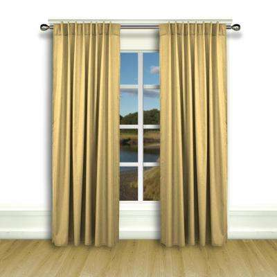 Glasgow 56 in. W x 84 in. L Woven Rod Pocket Window Panel with Back Tabs in Gold Leaf