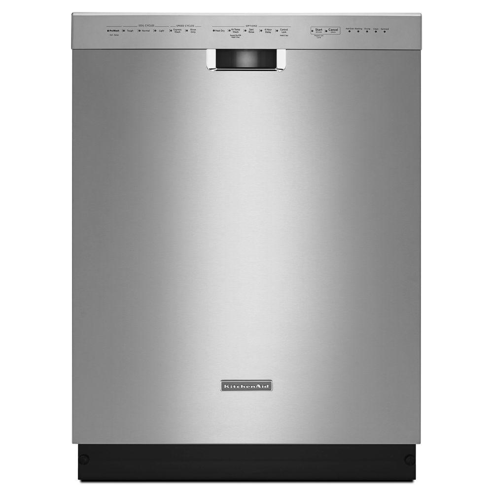 KitchenAid 24 in. Front Control Built-in Tall Tub Dishwasher in Stainless Steel with Stainless Steel Tub and ProWash Cycle