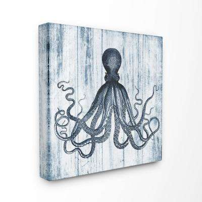 "30 in. x 30 in. ""Blue Distressed Octopus Ocean Animal Illustration"" by Piddix Printed Canvas Wall Art"