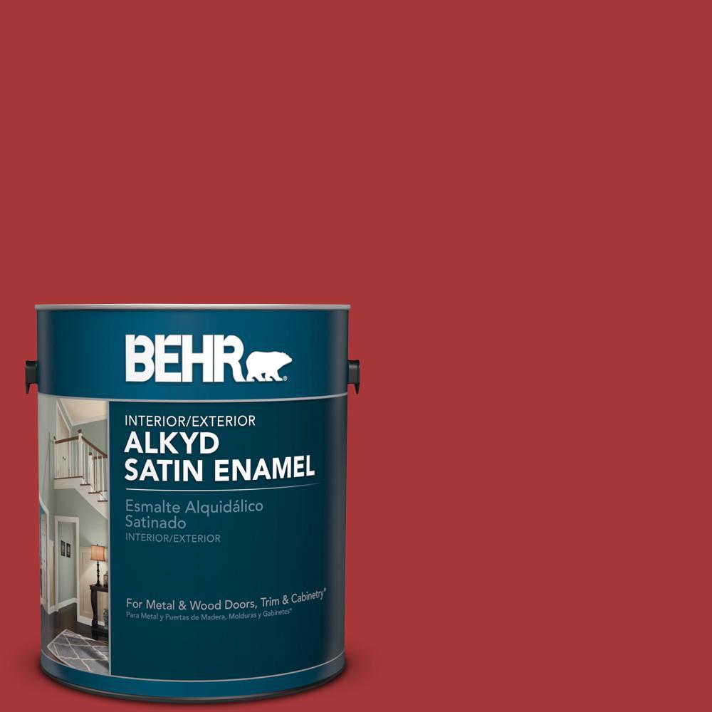 1 gal. #BXC-03 Scarlet Satin Enamel Alkyd Interior/Exterior Paint