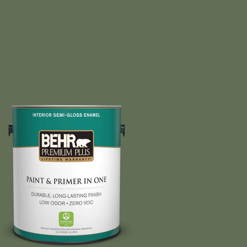 1-gal. #PMD-46 French Tarragon Zero VOC Semi-Gloss Enamel Interior Paint