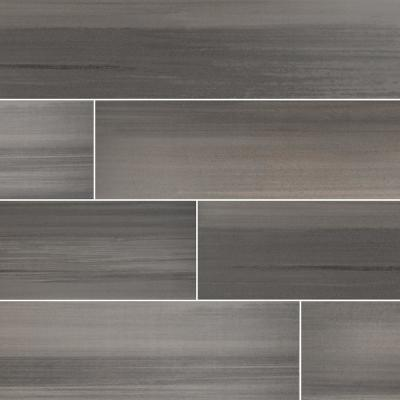 Water Color Graphite 6 in. x 36 in. Matte Porcelain Floor and Wall Tile (13.5 sq. ft. / case)