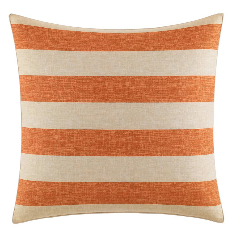 Palmiers Orange European Sham Add a pop of color to your bedding ensemble with the Tommy Bahama Palmiers European Sham. The all-cotton coral stripe sham is machine washable and features an envelope closure. Pair this sham with the rest of the Palmiers Collection for a complete tropcial look. European Sham (26 in. x 26 in.). Color: Orange.