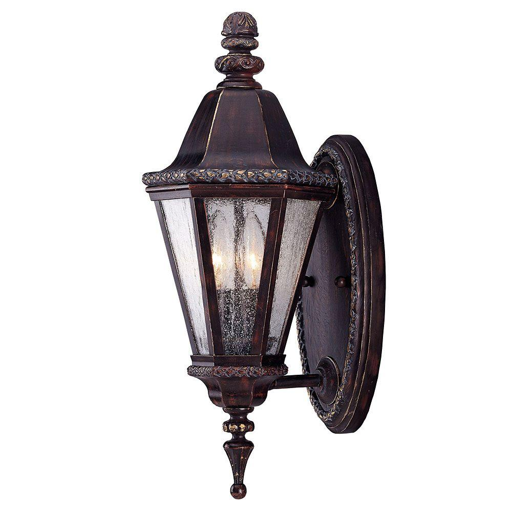 Illumine 2-Light Bark and Gold Wall Mount Lantern with Clear Seeded Glass