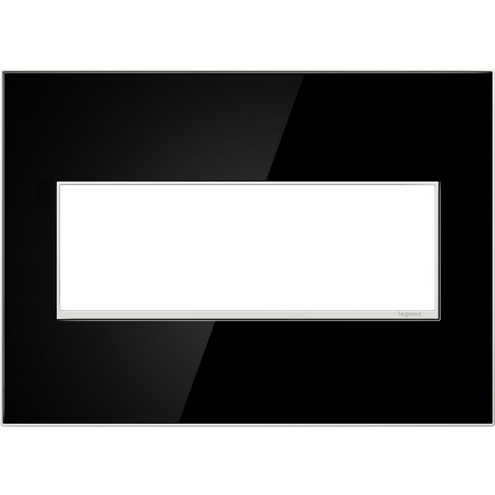 Legrand adorne 3-Gang 3 Module Wall Plate, Mirror Black