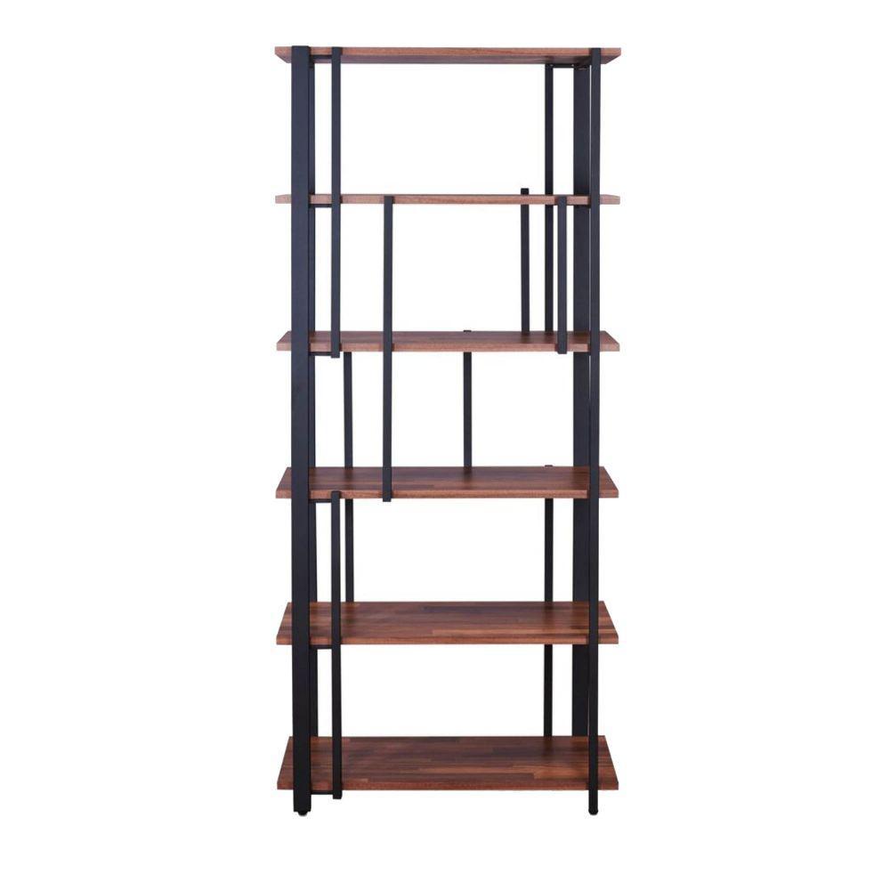 69.8 in.H Walnut Brown and Black Rectangular 6-Tier Metal Frame Wooden Bookshelf