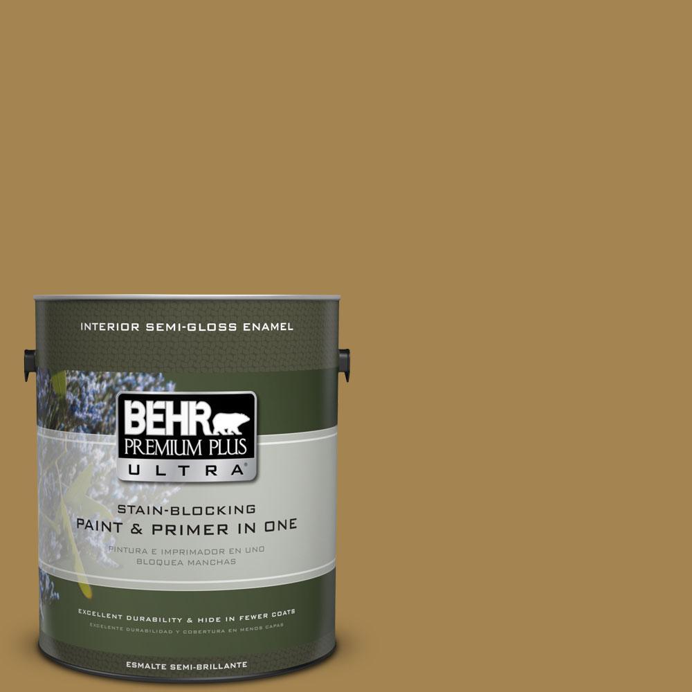 Behr Premium Plus Ultra 1 Gal 330f 6 Bristle Grass Semi Gloss Enamel Interior Paint And Primer