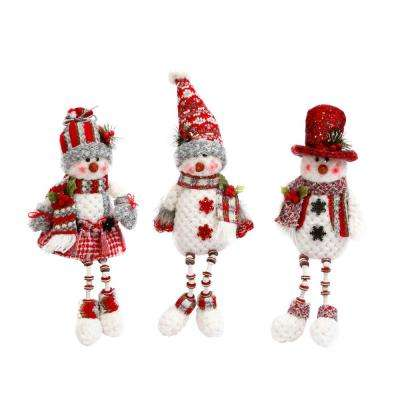 S/3 14 in. H Plush Red and Gray Holiday Snowmen Shelf Sitter Figurines