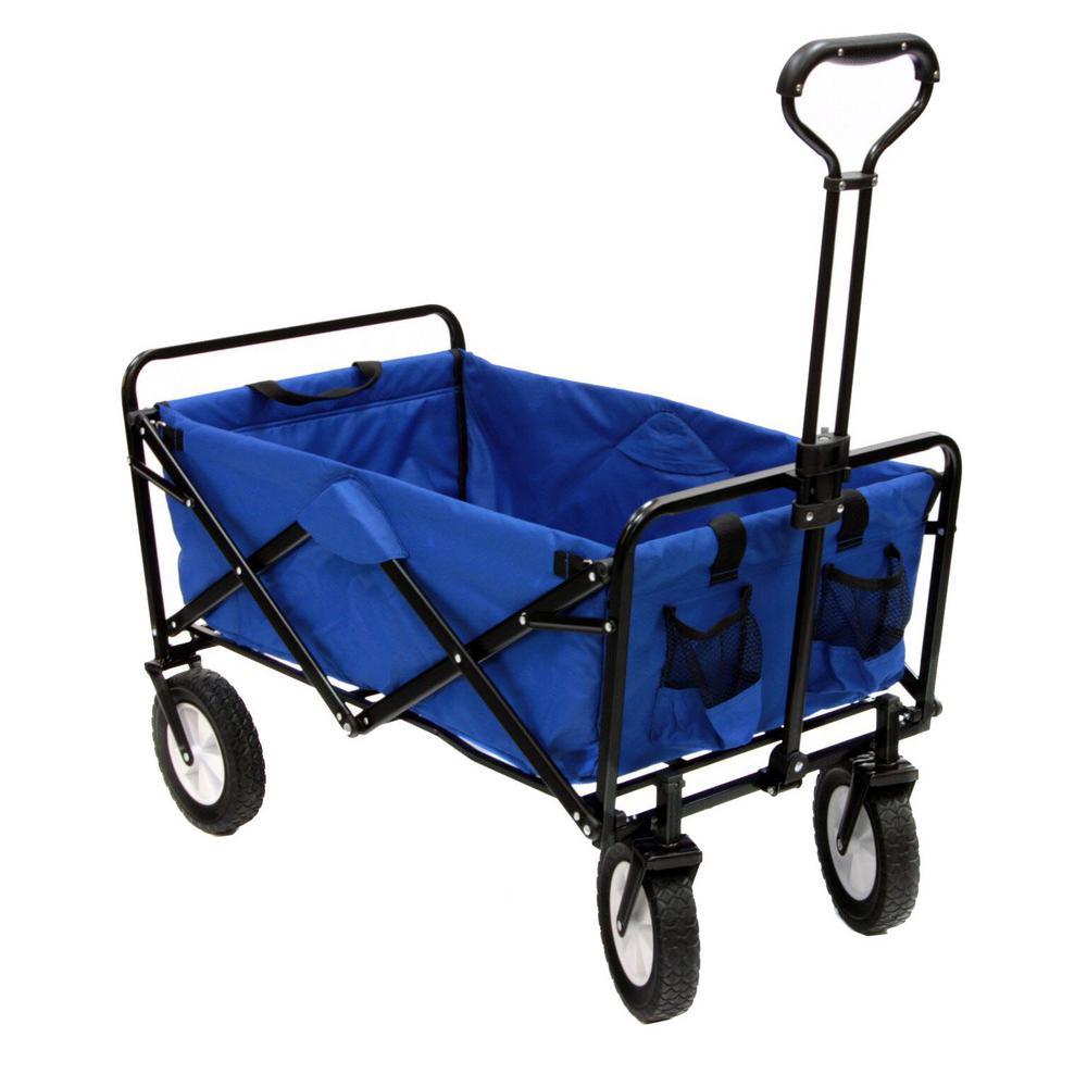 Collapsible Folding Steel Frame Outdoor Garden Utility Wagon, Blue
