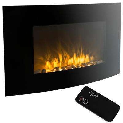 35 in. Adjustable Heater Wall Mount Electric Fireplace in Black