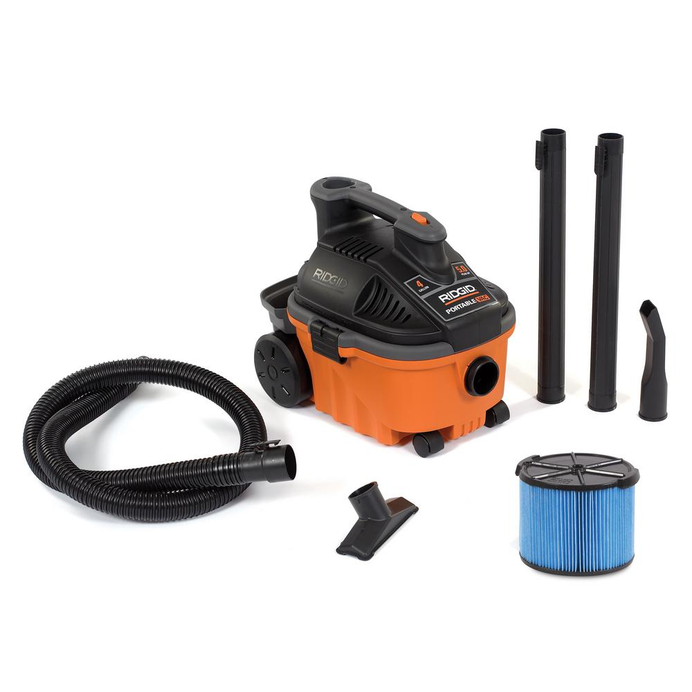 ridgid 4 gal 5 0 peak hp portable wet dry vacuum wd4070 the home rh homedepot com Ridgid WD1450 Accessory Bag Ridgid WD1450 Review