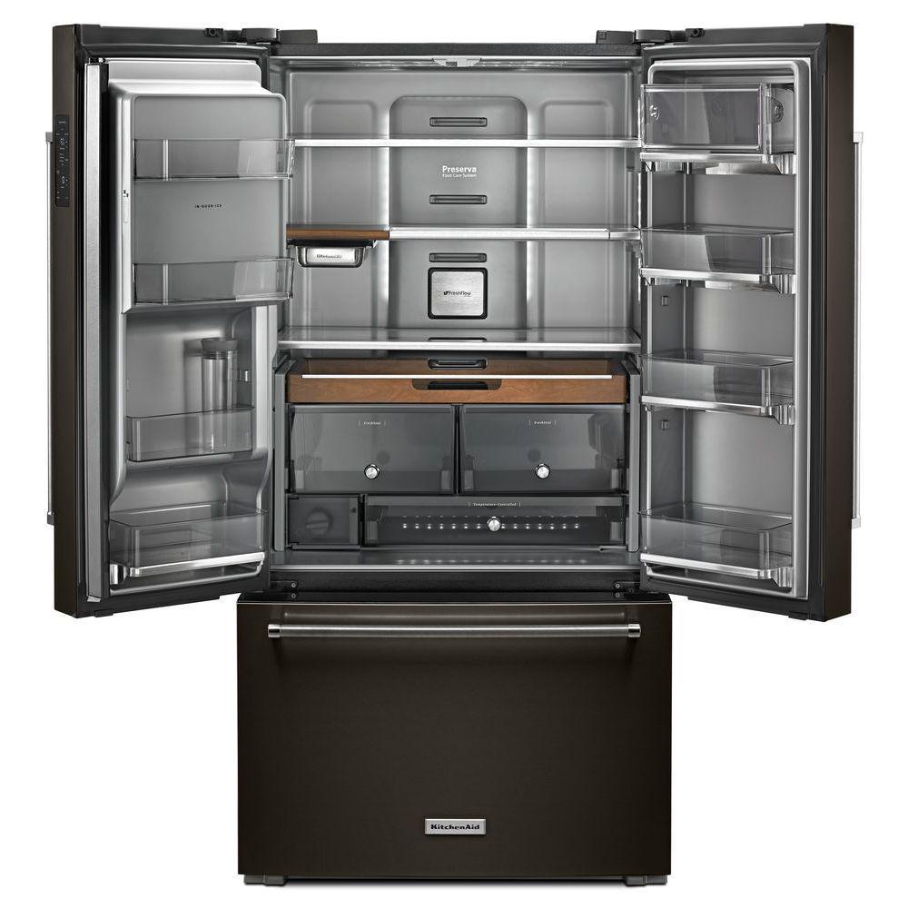 Kitchenaid 23 8 Cu Ft French Door Refrigerator In Black