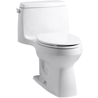 Santa Rosa Comfort Height 1-Piece 1.6 GPF Single Flush Compact Elongated Toilet with AquaPiston Flush in White