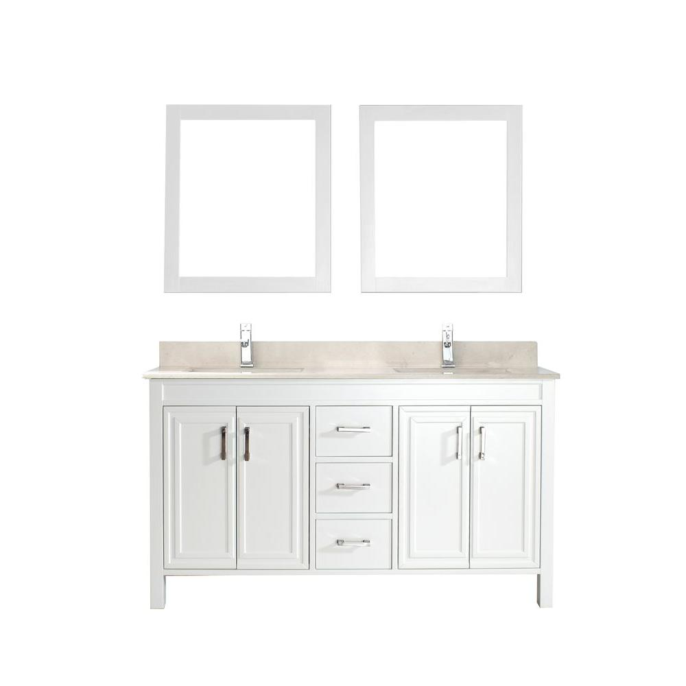 Dawlish 60 in. Vanity in White with Marble Vanity Top in