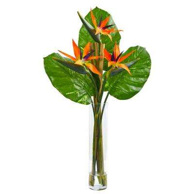 Indoor Bird of Paradise Artificial Arrangement in Cylinder Vase