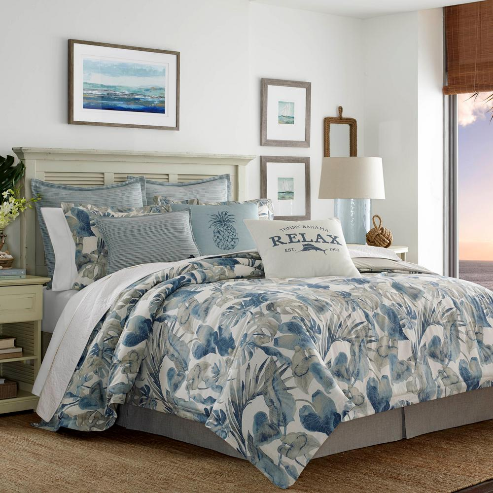 Raw Coast 3-Piece Blue King Duvet Cover Set Tropical foliage is interpreted in a painterly watercolor style that brings a fresh, contemporary vibe to this signature design. Tones of Indigo and Chambray blues with neutral Khaki on a warm white ground create a pleasing palette that is easy to coordinate. Accessory accents such as detail stitched European shams and logo decorative pillows add an authentic Tommy Bahama signature to complete the look. Full/Queen Duvet Cover Set includes: One full/queen duvet cover (92 in. L x 88 in. W) and two standard shams (20 in. L x 26 in. W), King Duvet Cover Set includes: One king duvet cover (92 in. L x 107 in. W) and two king shams (20 in. L x 36 in. W). Color: Blue.