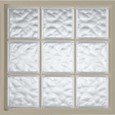 39 in. x 39 in. Glass Block Fixed Vinyl Windows Wave Pattern Glass - Tan