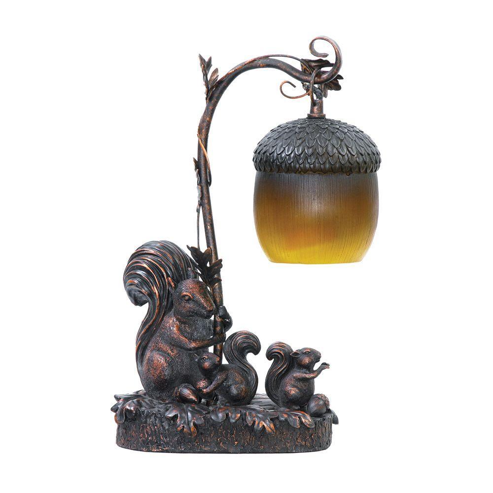 Nice Brown Squirrel Acorn Light Lamp