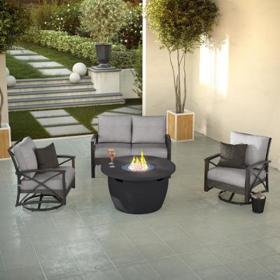 Vanessa 42 in. x 23.5 in. Round Artificial Stone Liquid Propane Gas in Dark Charcoal