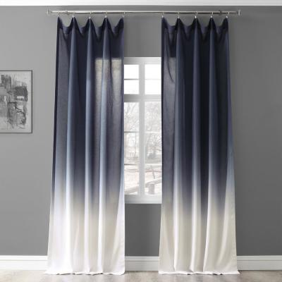 Ombre Blue Faux Linen Polyester Sheer Curtain - 50 in. W x 108 in. L