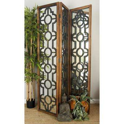 6.08 ft. Distressed Brown, Matte Black Wood, and Reflective Mirror 3-Panel Room Divider