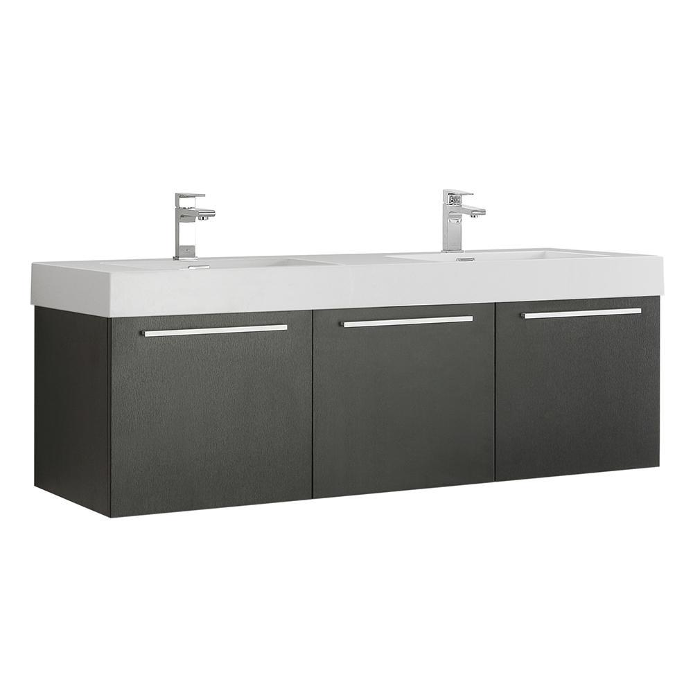 Fresca Vista 48 in. Modern Wall Hung Bath Vanity in Black ...