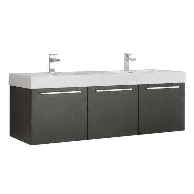 Vista 48 in. Modern Wall Hung Bath Vanity in Black with Double Vanity Top in White with White Basins