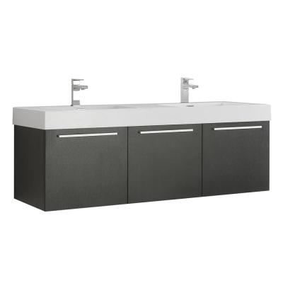 Vista 60 in. Modern Wall Hung Bath Vanity in Black with Double Vanity Top in White with White Basins