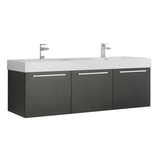 Vista 59 in. Modern Double Bathroom Wall Hung Vanity Cabinet Only in Black