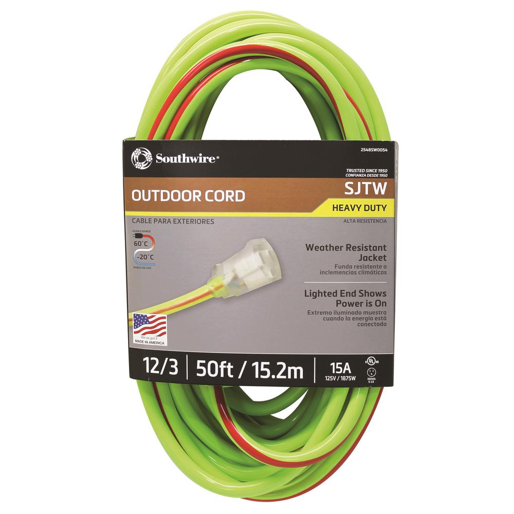 Southwire 50 Ft 12 3 Sjtw Hi Visbility Multi Color Outdoor Heavy Wiring Extension Cord Colors